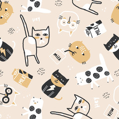 Childish seamless pattern with cute cats. Creative childish texture for fabric, wrapping, textile, wallpaper, apparel. Vector illustration.