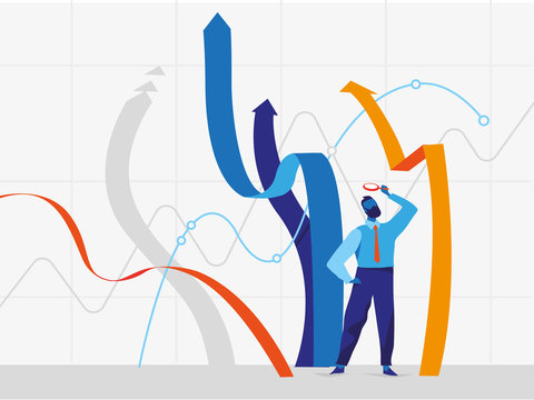 Uomo d'affari esamina con la lente di ingrandimento le linee e frecce crescenti del grafici