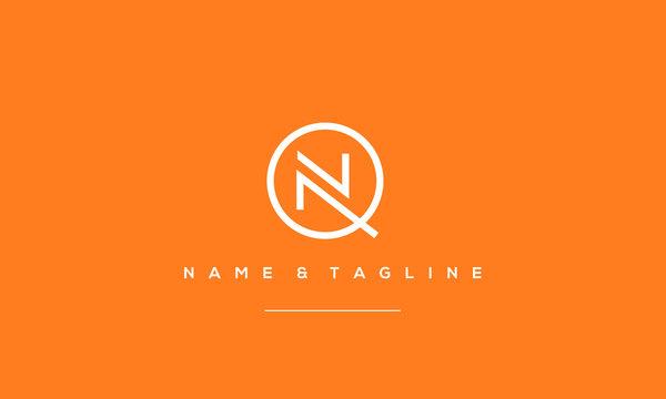 Alphabet letter icon symbol QN or NQ