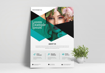 Flyer Layout with Green Geometric Overlay Elements