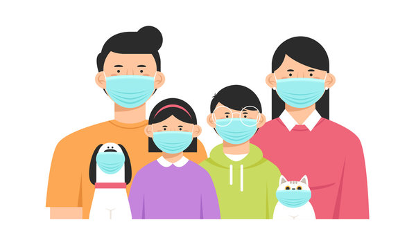 Family and their animals in protective masks