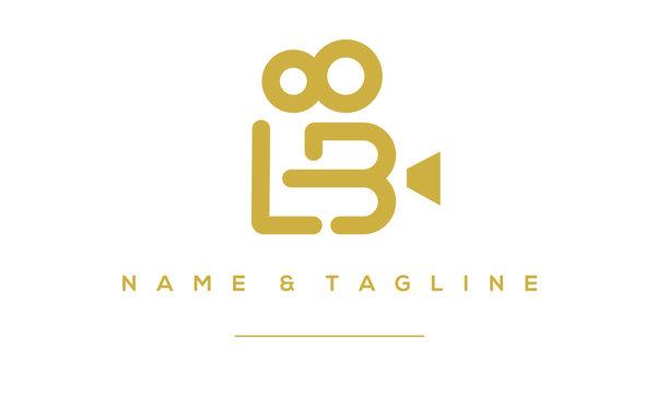 Alphabet letter icon logo LB in film shape