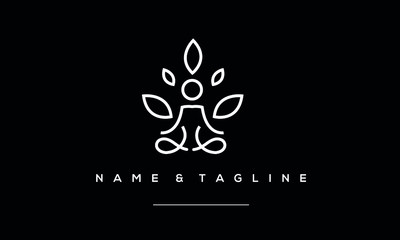 A line art icon logo of a yoga person with a tree
