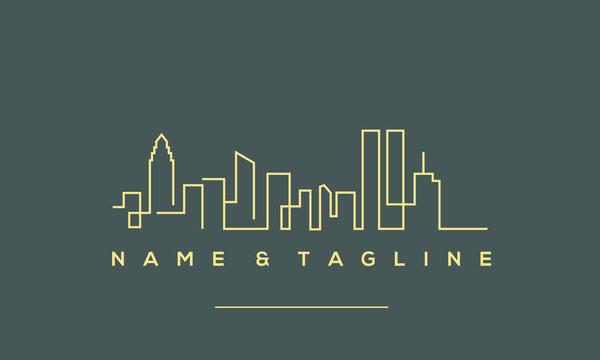 A line art icon logo of a skyline.