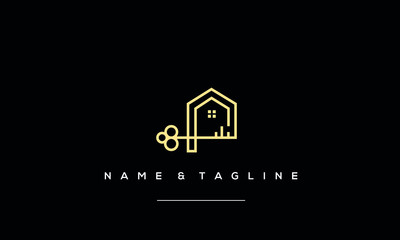 A line art icon logo of a house with a key
