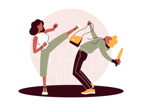 Vector illustration of self-defense against the attack by a criminal