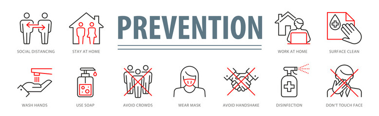 Coronavirus Prevention Vector Illustration Set Wall mural