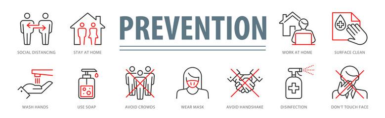 Coronavirus Prevention Vector Illustration Set Fotoväggar