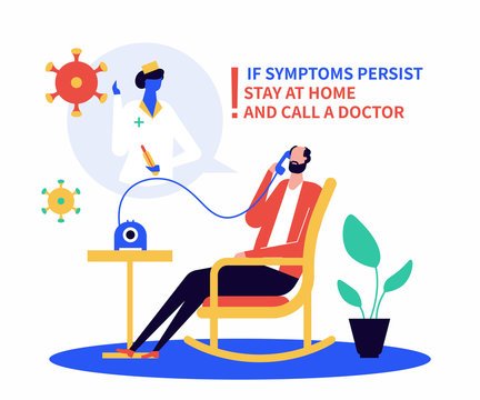 Call a doctor if unwell - flat design style illustration