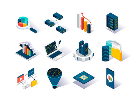 Big data isometric icons set. Data collection, storage in cloud database and analysis. Computer technology and scientific methods and algorithms. Data analysis and interpretation 3d vector isometry.