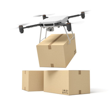 3d rendering of camera drone delivering cardboard box on top of two other boxes isolated on white background.