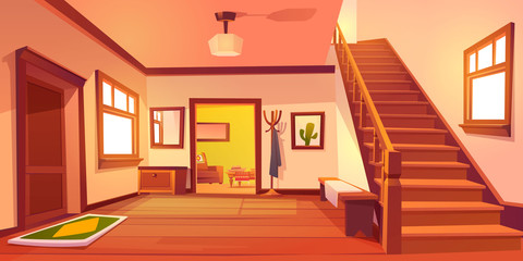Rustic house hallway entrance interior with wooden stairs and furniture. Western style apartment with door, hanger, carpet, cowboy hat on table and cactus picture on wall. Cartoon vector illustration.
