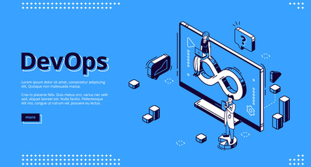 Devops isometric landing page, development and operation specialists work collaboration. Programmer and businesswoman at huge pc. Automation cycles software construction. 3d vector line art web banner