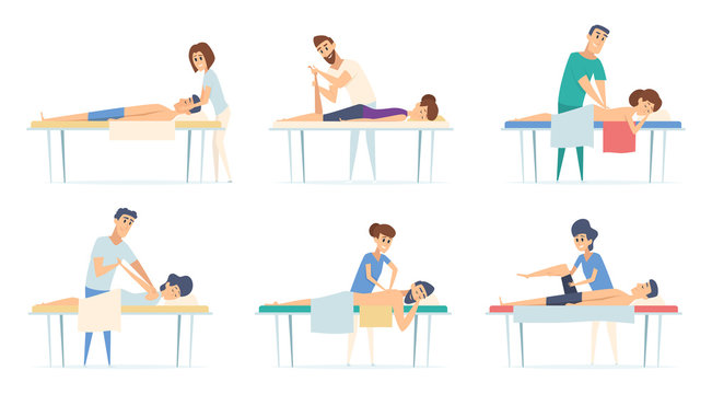 Massage therapy. Spa relax physiotherapy procedure remedial massage injury sport stretching doctor vector cartoon illustrations. Therapy spa procedure, therapist and massage