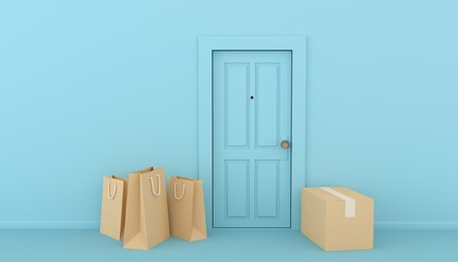 3d rendered illustration pf some parcels near the door,   door drop-off service to avoid contact