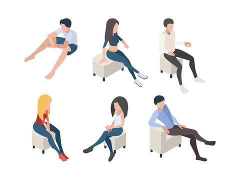 Sitting people. Characters in couch armchairs humans male and female persons in relax poses vector isometric. Illustration people sit couch, man guy sitting