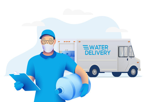 Delivery man in medical protective mask holding a big bottle with clean water and delivery truck on background. Water delivery service during quarantine concept. Vector illustration.