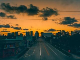 sunrise road street city wynwood miami florida highway sky clouds buildings architecture skyscraper coronavirus sunset urban street skyline dusk landscape