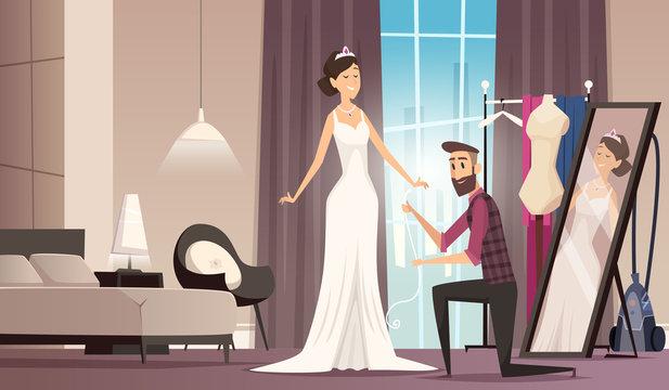 Fitting wedding dress. Dressmaker making dress for beauty bride tailor workshop clothes vector cartoon background. Wedding dress beauty, bride fitting illustration