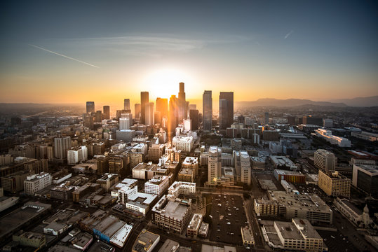 Aerial view of Los Angeles at sunset