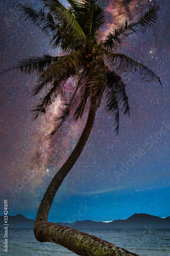 Wall mural Landscape with Milky way galaxy. Night sky with stars and silhouette coconut palm tree on the mountain. Long exposure photograph.