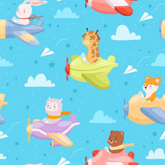 Airplane pattern. Animal kid characters in airplanes flying helicopter baby textile design vector seamless background. Aircraft, aviator toy in cloud and sky illustration