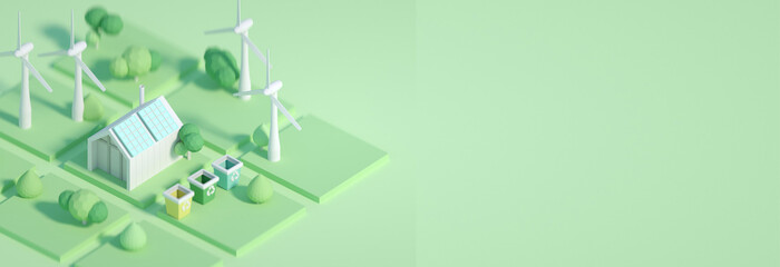 3d rendered illustration cartoon style, future ecological environment concept, passive house with energy saving and energy efficiency solar panels, wind mills on backround . low poly, space for text