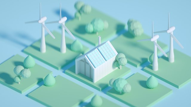 3d rendered illustration cartoon style, future ecological environment concept, passive house with energy saving and energy efficiency solar panels, wind mills on backround . low poly