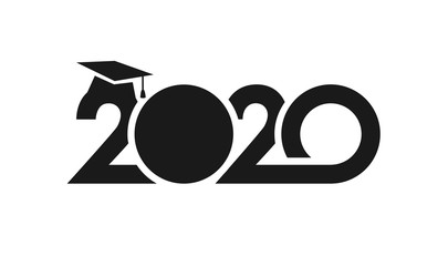 Class of 2020 year graduation sign, awards concept. Banner in monochrome style. Black number, white background. Isolated abstract graphic design template. Creative bold vector mask idea. T-shirt logo.