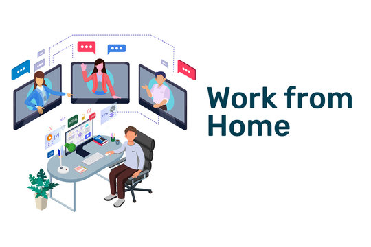Work from Home Illustration. Isometric Teamwork distancing communication. Isometric Business worker character Collection. Vector