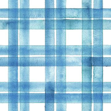 Watercolor stripe plaid seamless pattern. Blue stripes on white background