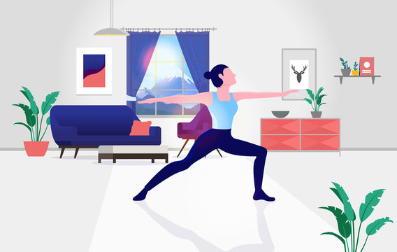Yoga at home- Woman doing the warrior pose in her living room. Interior in background, sunlight in window. Work out from home, alone, and isolation concept. Vector illustration.