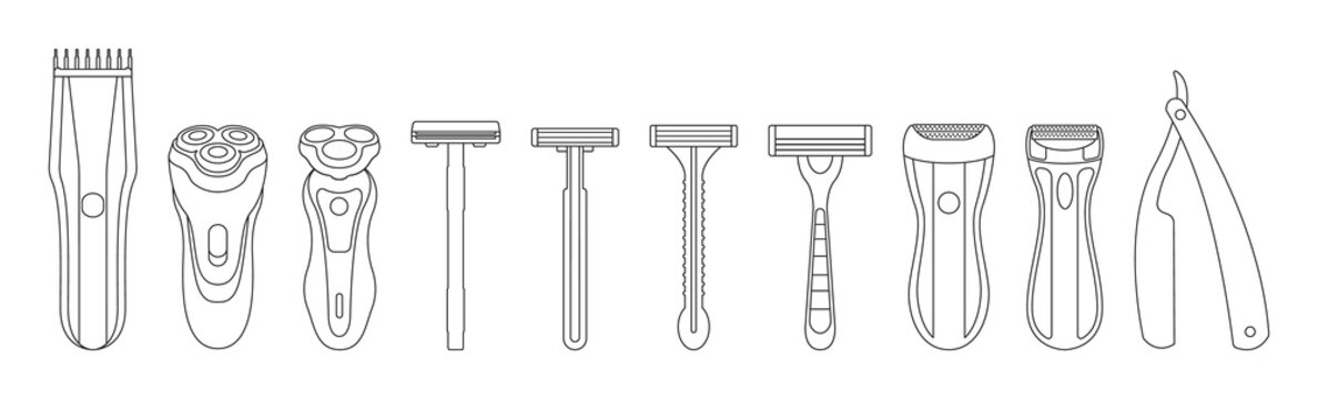 Razor isolated outline set icon. Vector illustration shaver on white background . Vector outline set icon accessory for shave.