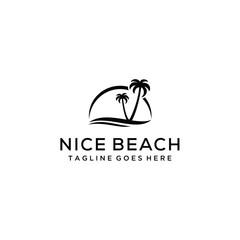 Creative beauty beach modern minimalist logo design vector
