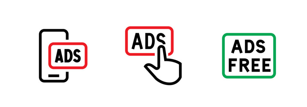 Set of smartphone, prohibition button blocking ads and ads free icons. Editable line vector.