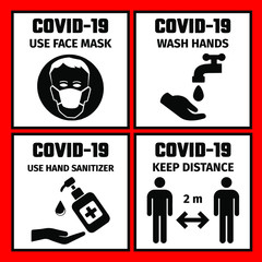 Obraz 4 signs with the safety rules for the prevention of coronavirus. Use face mask. Wash hands. Keep distance. Use hand sanitizer. - fototapety do salonu