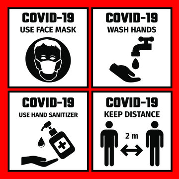4 signs with the safety rules for the prevention of coronavirus. Use face mask. Wash hands. Keep distance. Use hand sanitizer.