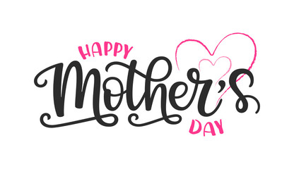 Vector illustration of Happy Mother's day text. Poster with hand drawn lettering typography and pink hearts. Mothers day design template for banner, badge, sticker, icon, sign, print
