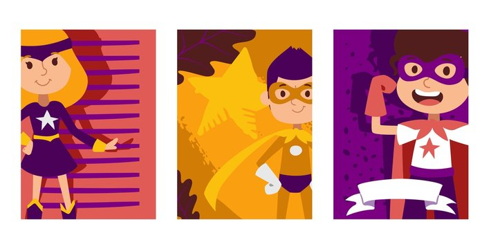 Child play in superhero character, kid male and female personage, flat vector illustration. Kids dream, idea of superpowers man, strong children actor, powerful heroine, design website banner.