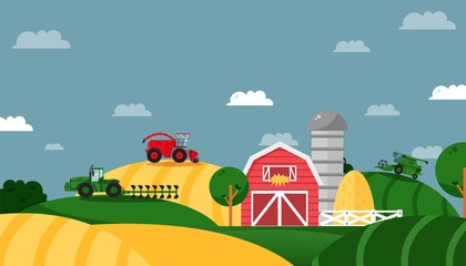 Farm field, agricultural business, working tractor, combine, working machine, flat vector illustration. Concept design banner. Farming area, warehouse, barn, straw Rural industry and company Fotomurales