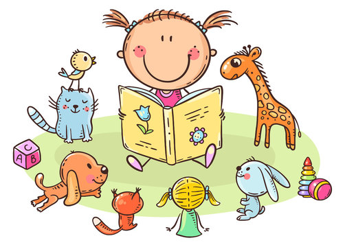 Little girl reading to toys or playing school, cartoon illustration