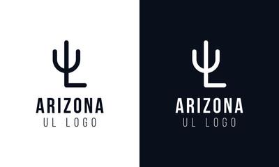 Minimalist Creative line art Arizona letter UL logo Symbol. Fototapete