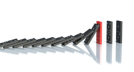 Domino on a white background 3d rendering