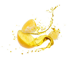 Juice splashes out from sliced lemon, isolated on white background