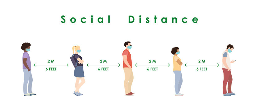 social distance. Full length of cartoon sick people in medical masks standing in line against at a safe distance of 2 meters or 6 feet. flat vector illustration