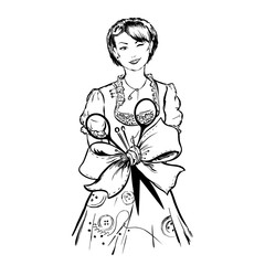Fototapeta Tailor female dressmaker girl with sewing equipment around talia  ribbon bow is tied together folded wiht needles, thread, scissors on white background obraz