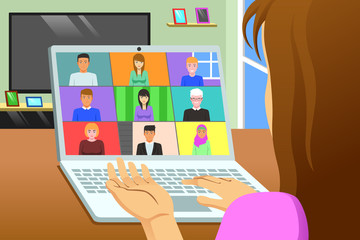 Conference Call Working From Home Online Meeting Illustration