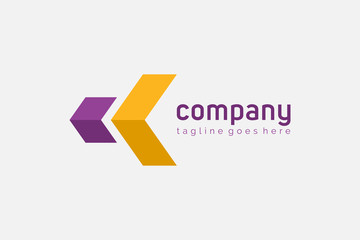 Purple and Yellow Geometric Initial Letter K Logo. Usable for Business, Architecture, Construction and Building Logos.  Flat Vector Logo Design Template Element.