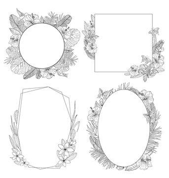 Tropical flowers frames set. Black lines on white background. Vector illustration.