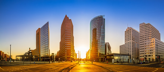 Wall Mural - panoramic view at the potsdamer platz while sunset